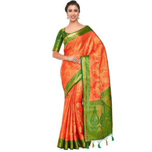 Mimosa Embellished Patola Art Silk Saree(Orange)
