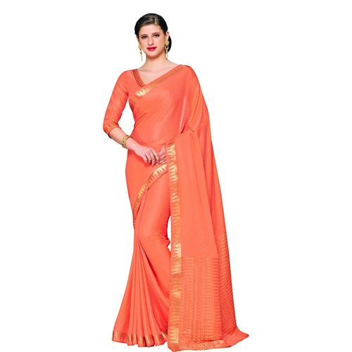 Mimosa Embellished Kanjivaram Poly Crepe Saree(Orange)
