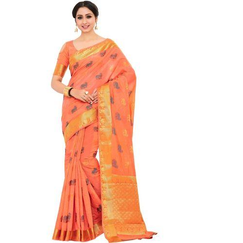 Mimosa Embellished, Printed, Self Design Kanjivaram Art Silk Saree(Orange)