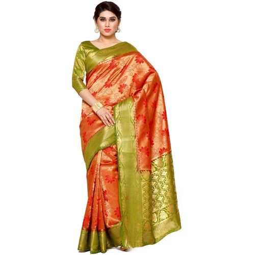 Mimosa Self Design Kanjivaram Art Silk Saree(Red, Light Green)
