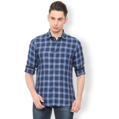 Van Heusen Men Checkered Casual Blue Shirt