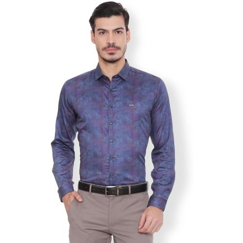 Van Heusen Men Printed Party Blue Shirt
