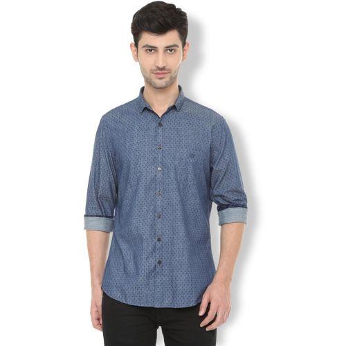 Van Heusen Men Polka Print Casual Blue Shirt
