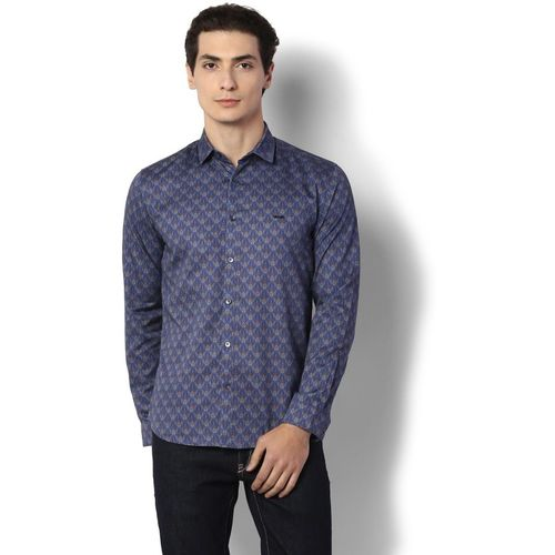 Van Heusen Men Printed Casual Blue Shirt