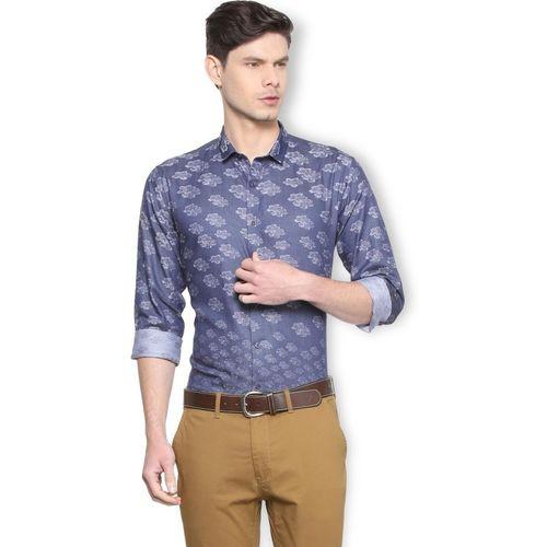 Van Heusen Men Self Design Casual Blue Shirt