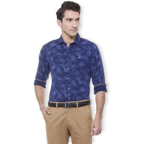 Van Heusen Men Printed Casual Blue Shirt