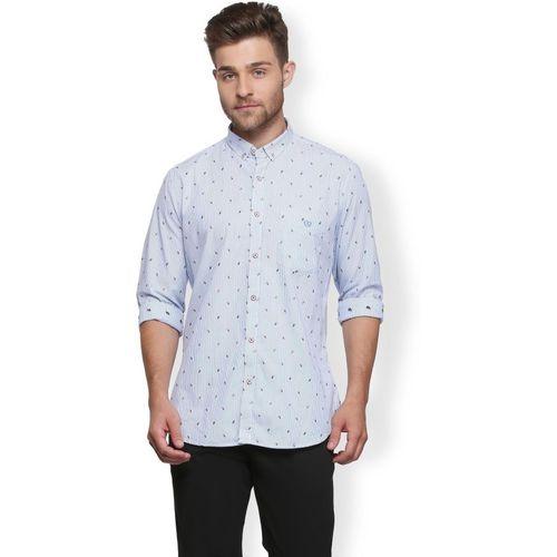 Van Heusen Men Solid Casual Blue Shirt