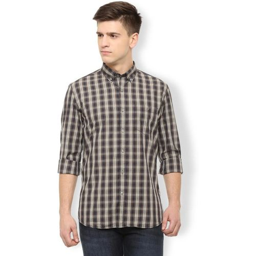 Van Heusen Men Checkered Casual Brown Shirt