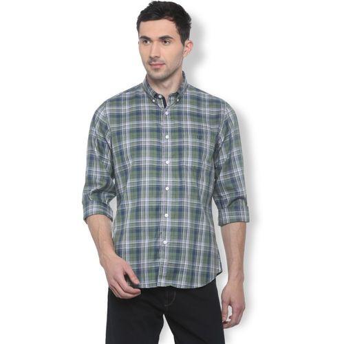 Van Heusen Men Checkered Casual Green Shirt