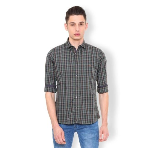 Van Heusen Men Checkered Casual Grey Shirt