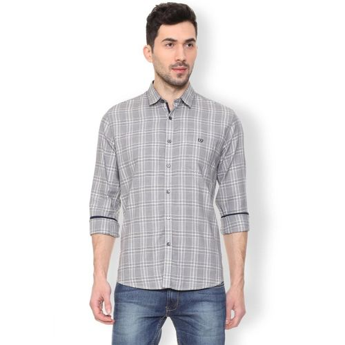 Van Heusen Men Checkered Casual Grey Shirt