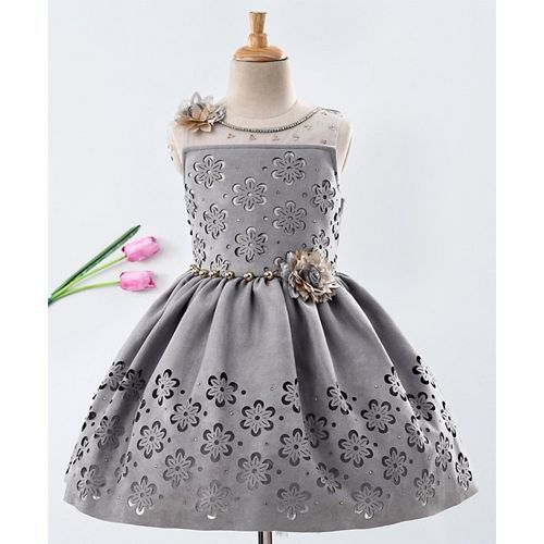 Enfance Flower Cut Work Sleeveless Dress - Grey