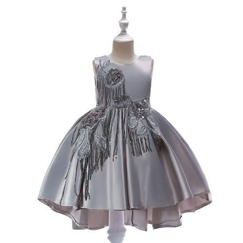 Awabox Embroidered Sleeveless Dress - Grey