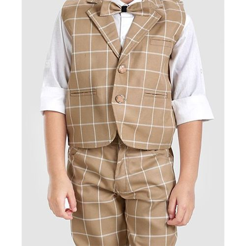 Rikidoos 3 Pcs Party Wear Suit With Cap - Beige