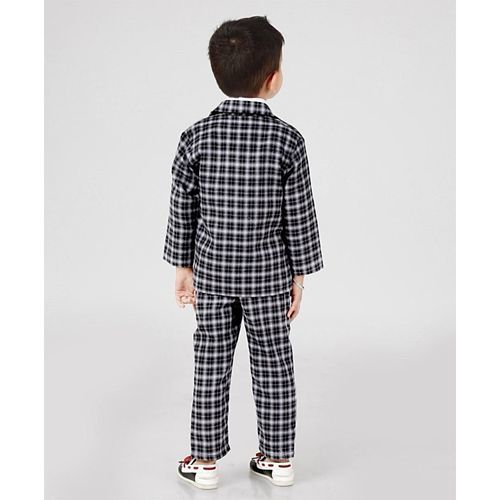 Rikidoos 3 Piece Full Sleeves Checks Party Suit With Bow - Black