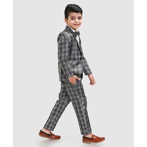 Dew's Burry Checked Full Sleeves 3 Piece Party Suit With Bow - Grey