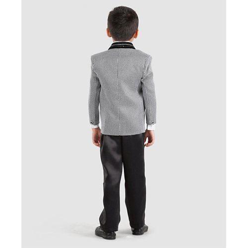 Dew's Burry Printed 4 Pcs Party Wear Suit - Grey