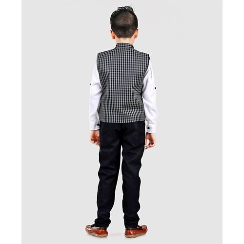 Dapper Dudes Full Sleeves Checked 3 Piece Party Suit Set - Grey & Navy Blue
