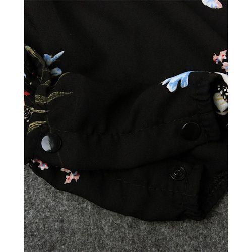 Pre Order - Awabox Short Sleeves Flower Print Onesie - Black