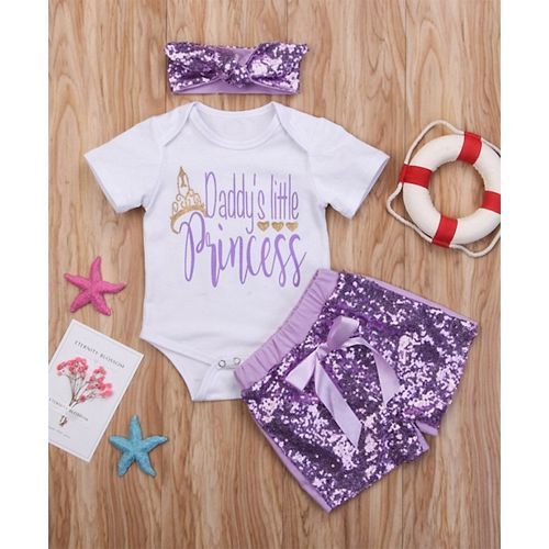 Pre Order - Awabox Princess Print Half Sleeves Onesie & Sequin Shorts Set With Headband - White & Purple