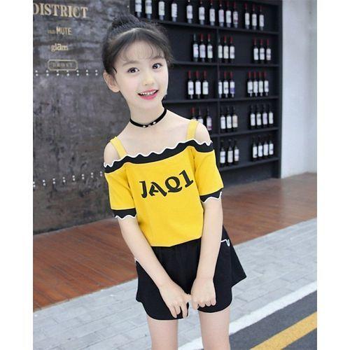 Pre Order - Awabox Printed Half Sleeves Top & Shorts Set - Yellow