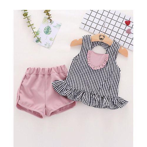 Pre Order - Awabox Checked Sleeveless Peplum Top & Shorts Set - Pink