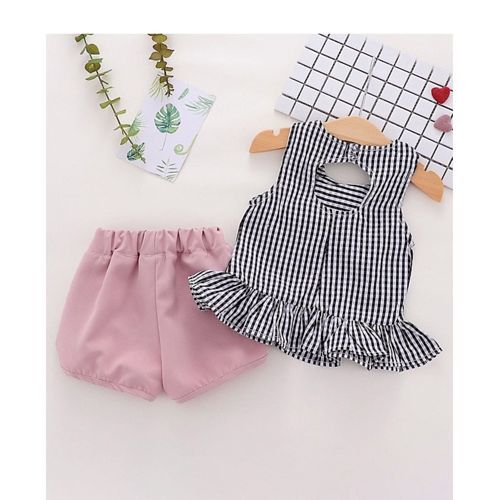 Pre Order - Awabox Checked Sleeveless Peplum Top & Shorts Set - Pink