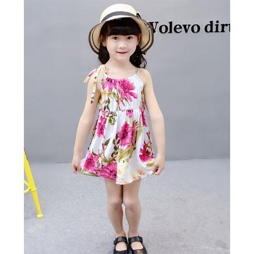 Pre Order - Awabox Flower Printed Sleeveless Dress - Pink