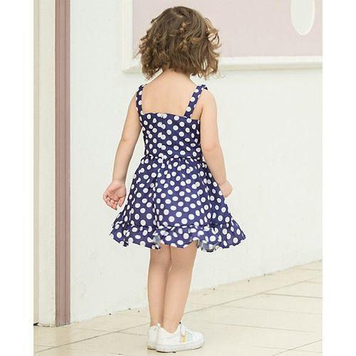 Pre Order - Awabox Polka Dot Print Sleeveless Dress - Purple