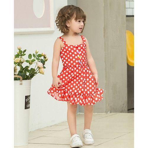 Pre Order - Awabox Polka Dot Print Sleeveless Dress - Red