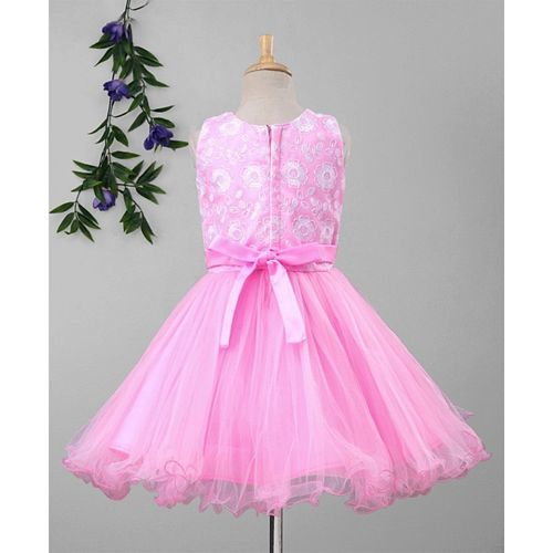 Babyhug Frock With Flower Embroidered Yoke & Netted Flare - Light Pink