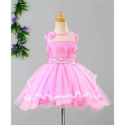 Babyhug Sleeveless Party Frock Floral Embroidery - Pink