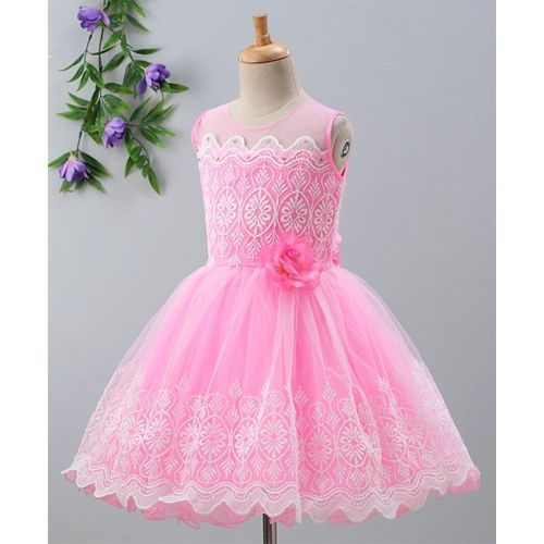 Babyhug Sleeveless Embroidered Fit & Flare Party Wear Frock - Pink