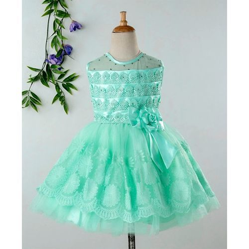 Babyhug Sleeveless Party Wear Embroidered Frock - Mint Green