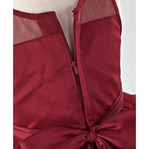 Babyhug Sleeveless Layered Party Wear Frock With Quilted & Studded Bodice - Maroon