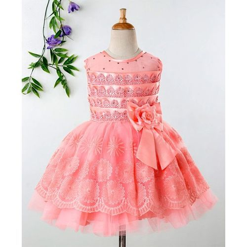 Babyhug Sleeveless Party Wear Embroidered Frock - Peach