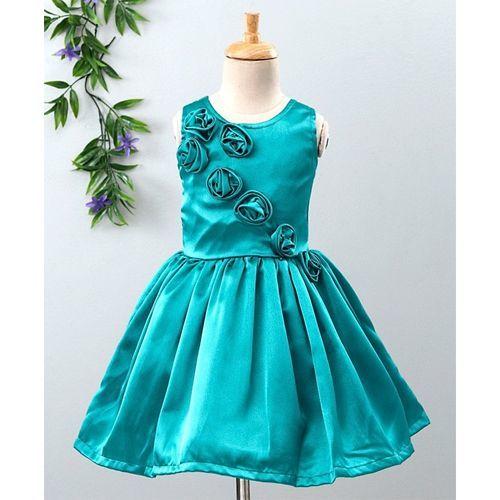 Babyhug Sleeveless Party Wear Frock With Satin Rose Embellished Bodice - Turquoise