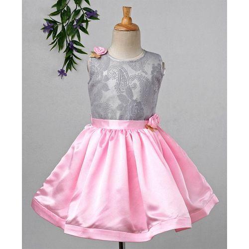 Babyhug Sleeveless Party Wear Frock With Damask Bodice - Grey Pink