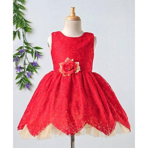 Babyhug Party Wear Sleeveless Frock Flower Applique - Red