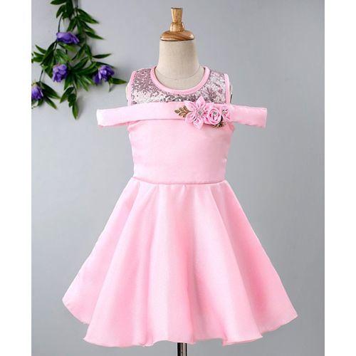 Babyhug Cold Shoulder Frock With Satin Flare & Sequin Neckline - Pink