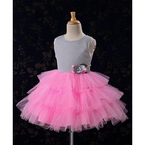 Babyhug Partywear Frock Flower Applique - Pink