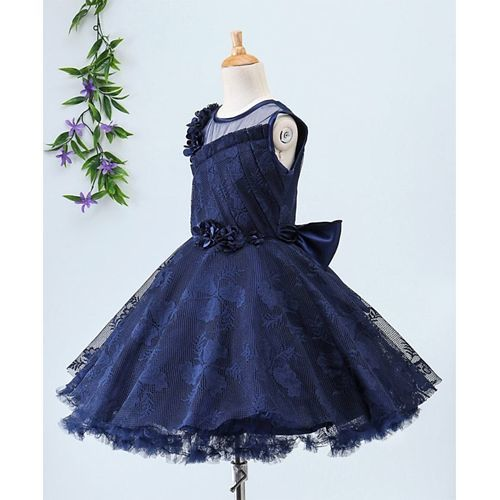 Babyhug Sleeveless Netted Jacquard Party Wear Frock With Floral Motifs - Navy Blue