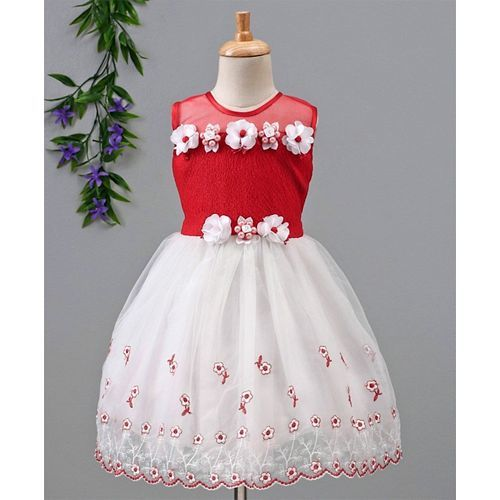 Babyhug Party Wear Sleeveless Frock Floral Appliques - White & Red