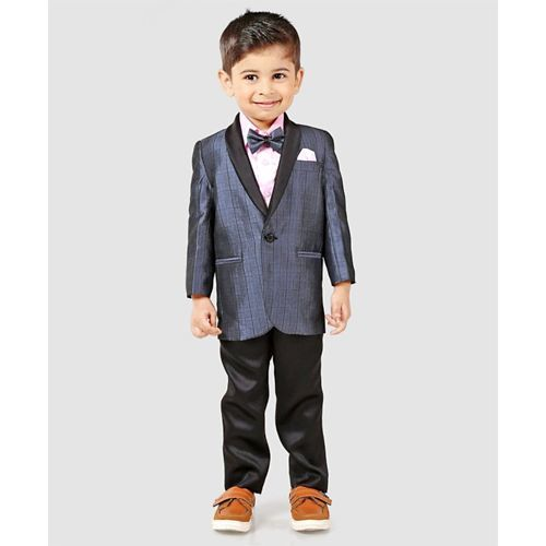 Babyhug Full Sleeves Three Piece Party Suit With Bow - Blue