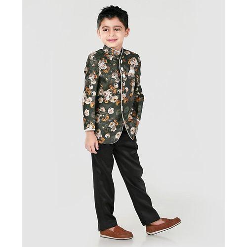 Babyhug Full Sleeves Band Gala Printed Coat Suit - Green