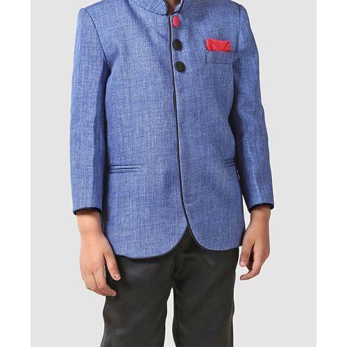 Babyhug Full Sleeves Band Gala Coat Suit - Blue