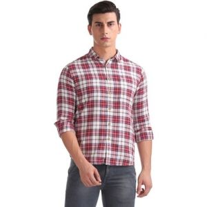Flying Machine Men Checkered Casual Red Shirt