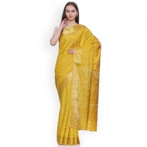 80de97175a0 Buy Ishin Mustard Art Silk Printed Mysore Silk Saree online ...