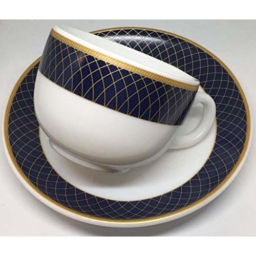 LaOpala Glass Diva Sovrana Regent Blue Cup and Saucer (White, 12 Pieces) -Set of 6