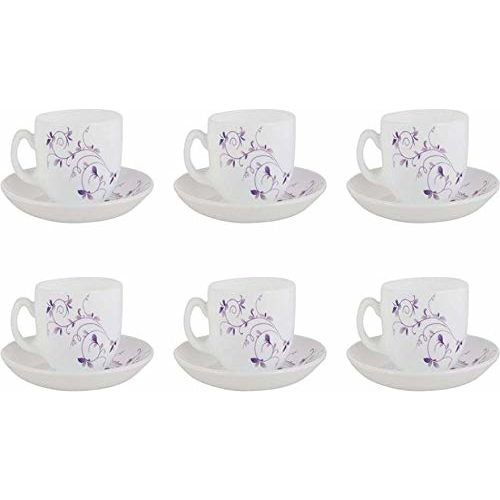 LaOpala Diva Dazzle Purple Tea & Coffee Cup & Saucers 220 ML Set of 6. (White)